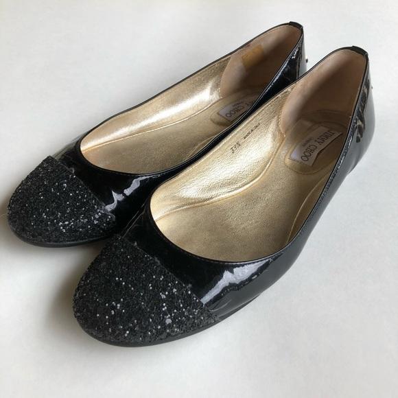 528d115cb5 Jimmy Choo Shoes - Jimmy Choo Patent Leather Glitter Cap Toe Flats